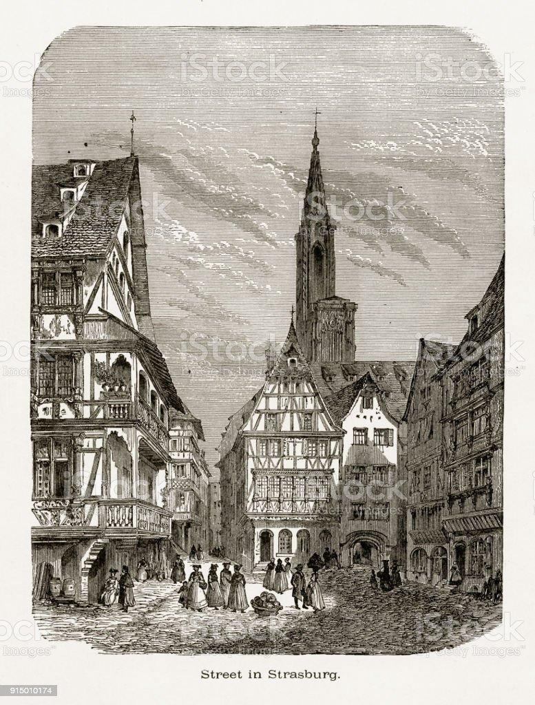 Village de Strasbourg, Strasbourg, en Allemagne, Circa 1887 - Illustration vectorielle