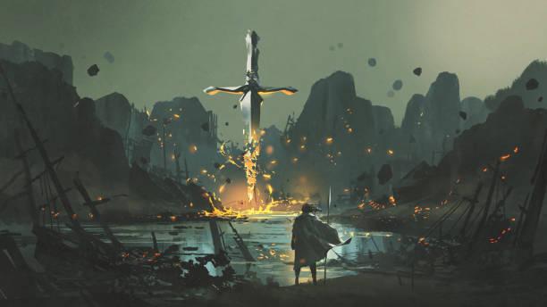 village of the broken sword vector art illustration