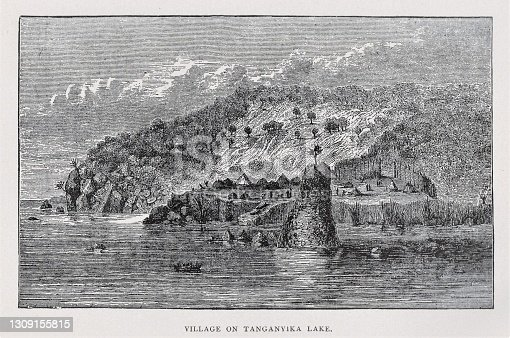 A village beside Lake Tanganyika, the second largest fresh water lake and second deepest lake in the world, in 1870s Africa. Illustration published 1891. Source: Original edition is from my own archives. Copyright has expired and is in Public Domain.