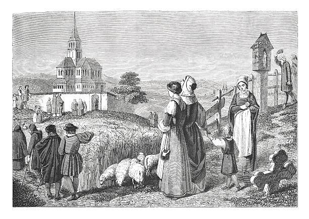 Village scene from Germany (antique engraving) vector art illustration