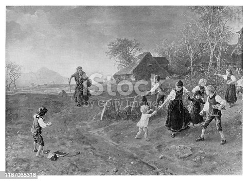Village witch being teased by schoolkids - Scanned 1894 Engraving