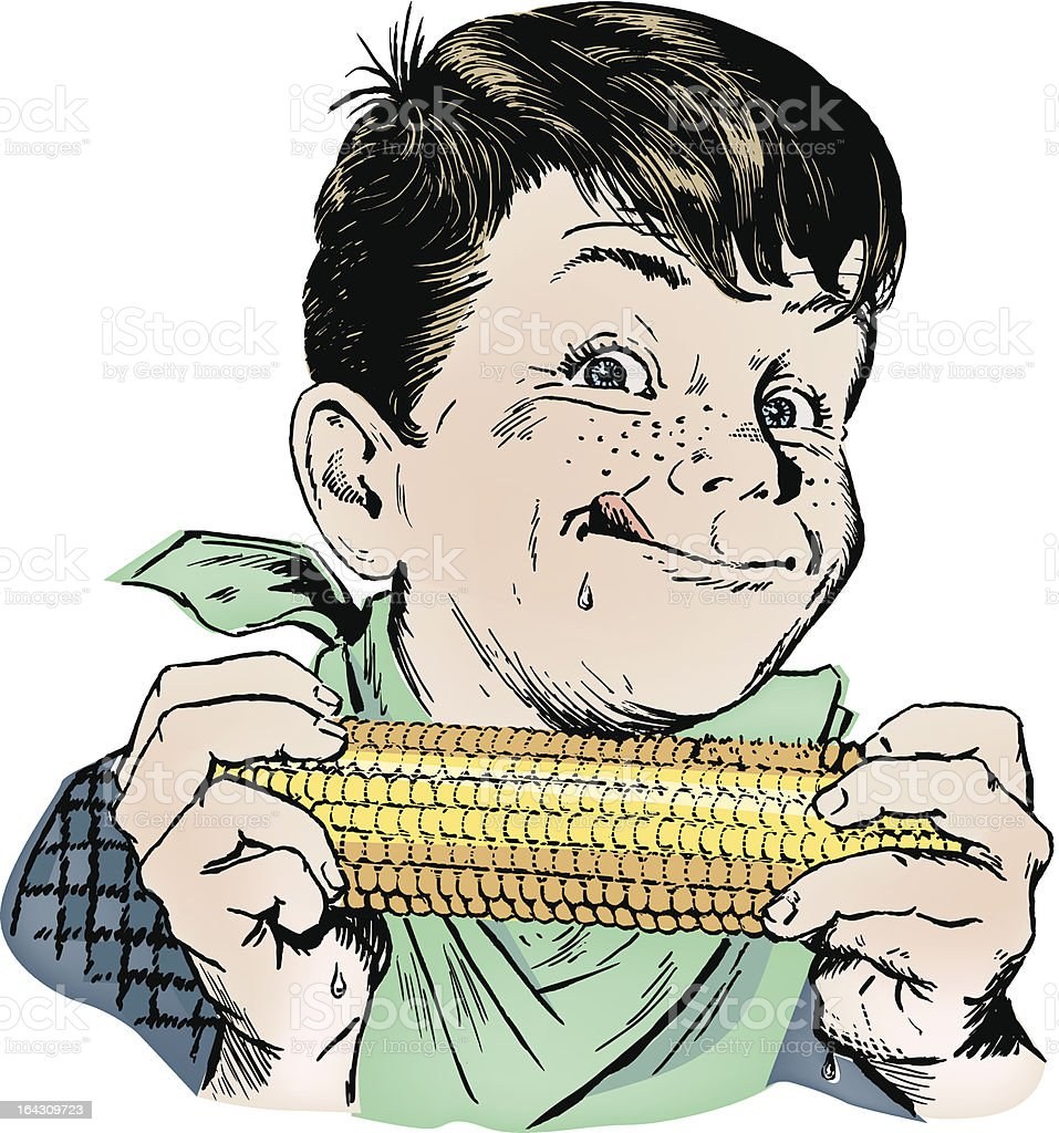 Vintage 1950s Boy Eating Corn vector art illustration