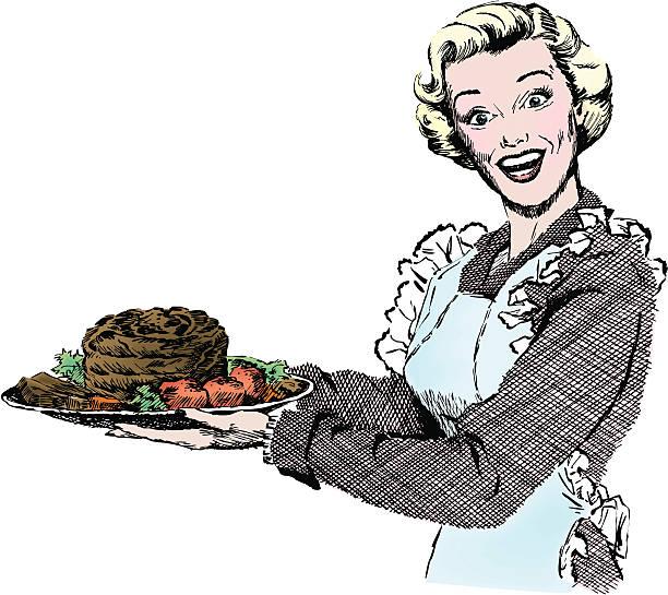 1950 er frau mit abendessen - roastbeef stock-grafiken, -clipart, -cartoons und -symbole