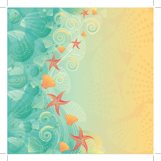 """Vintage abstract beach background """"Vintage abstract ocean background, layered and groupped, 300dpi 25x25cm jpg included. EPS 10, transparency used. more related:"""" beach borders stock illustrations"""