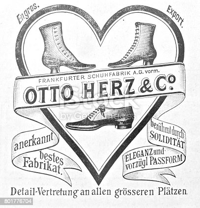 istock Vintage ad for shoes Otto Herz & Co. 801776704