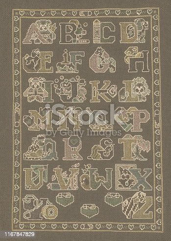 Vintage cross stitch sketch of the alphabet with sweet illustrations for letters A to Z.