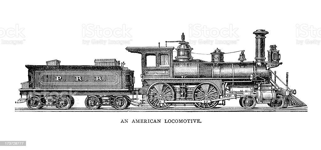 Vintage American Locomotive vector art illustration