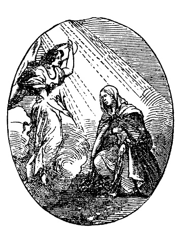 Woman kneeling and talking with fairy or angel. Religious or fantasy illustration. Antique vintage biblical Christian engraving or drawing.