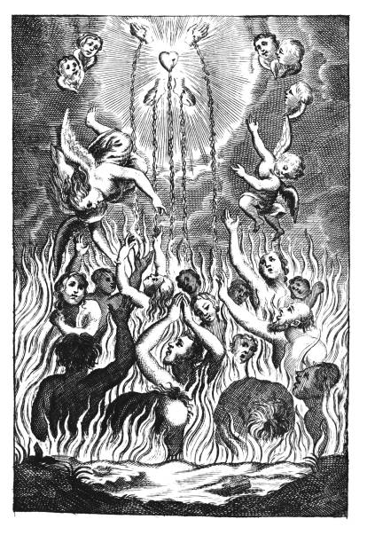 Vintage Antique Religious Allegorical Drawing or Engraving of People or Souls Suffering in Fire of Hell and Angels Showing Them the Way to Heaven by Sacrifice of Jesus Antique vintage religious allegorical engraving or drawing of souls or people suffering in fire of hell and angels showing them way to heaven.Illustration from Book Die Betrubte Und noch Ihrem Beliebten..., Austrian Empire,1716. Artist is unknown. seven deadly sins stock illustrations