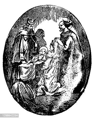 Virgin Mary, Joseph and baby Jesus Christ in Jerusalem temple meet Simeon. Bible, New Testament,Luke 2.Antique vintage biblical Christian engraving or drawing.