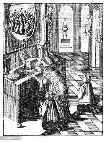 Antique vintage religious engraving or drawing of praying priest and two altar boys in church celebrating mass. Illustration from Book Die Betrubte Und noch Ihrem Beliebten..., Austrian Empire,1716. Artist is unknown.