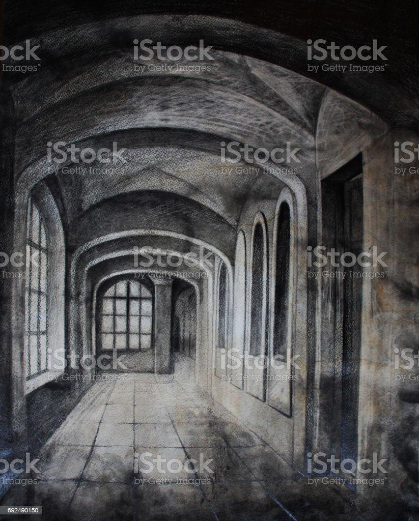 Vintage architecture, archs, Hand drawn watercolor illustration vector art illustration
