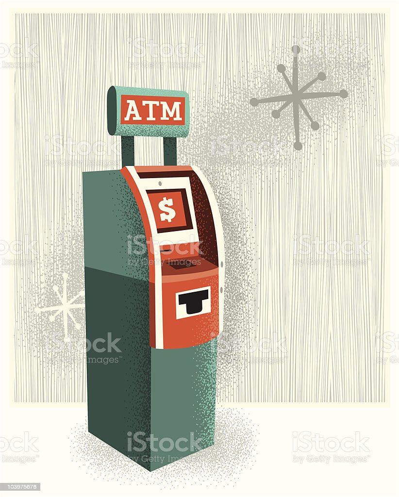 Vintage ATM vector art illustration