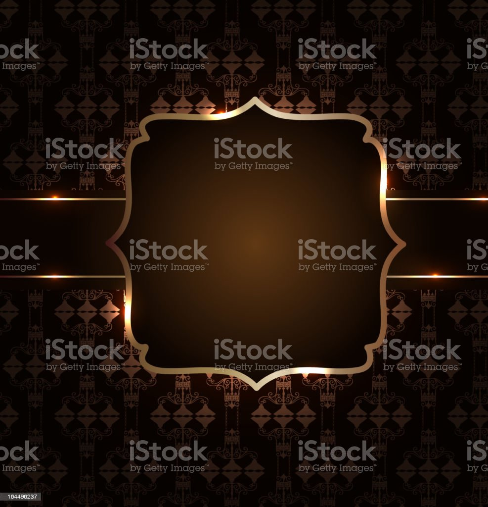 Vintage background with golden frame vector illustration royalty-free stock vector art