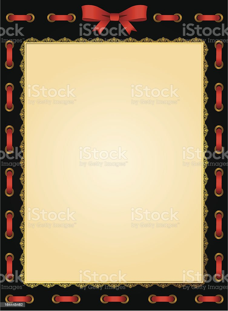 Vintage background with red bow. Vector royalty-free stock vector art