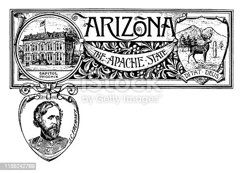 Vintage banner with emblem and landmark of Arizona, portrait of J C Freemont