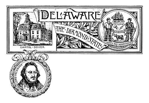 Vintage banner with emblem and landmark of Delaware, portrait of Lord Delawarr