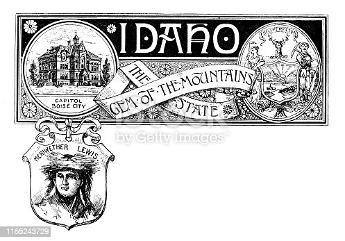 Vintage banner with emblem and landmark of Idaho, portrait of Meriwether Lewis