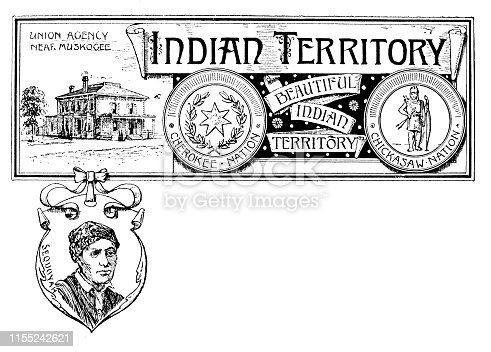 Vintage banner with emblem and landmark of Indian Territory, portrait of Sequoyah
