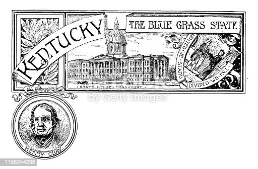 Vintage banner with emblem and landmark of Kentucky, portrait of Henry Clay