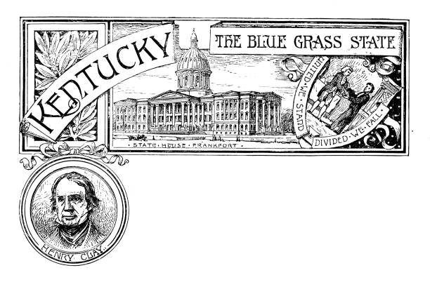 Vintage banner with emblem and landmark of Kentucky, portrait of Henry Clay vector art illustration