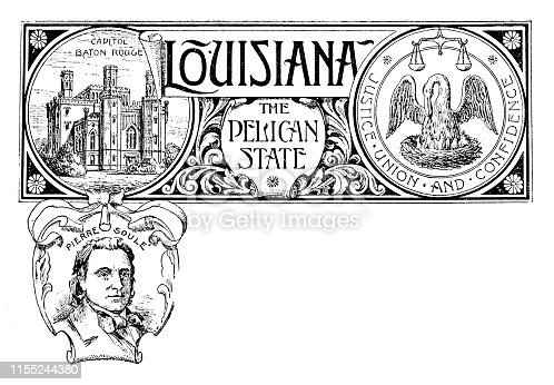 Vintage banner with emblem and landmark of Louisiana, portrait of Pierre Soule