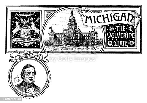 Vintage banner with emblem and landmark of Michigan, portrait of Lewis Cass