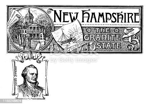 Vintage banner with emblem and landmark of New Hampshire, portrait of Gen Starr