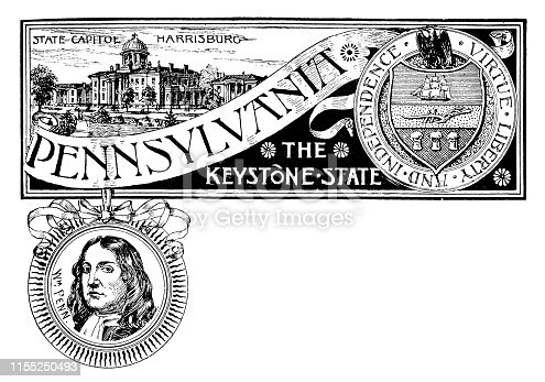 Vintage banner with emblem and landmark of Pennsylvania, portrait of Penn