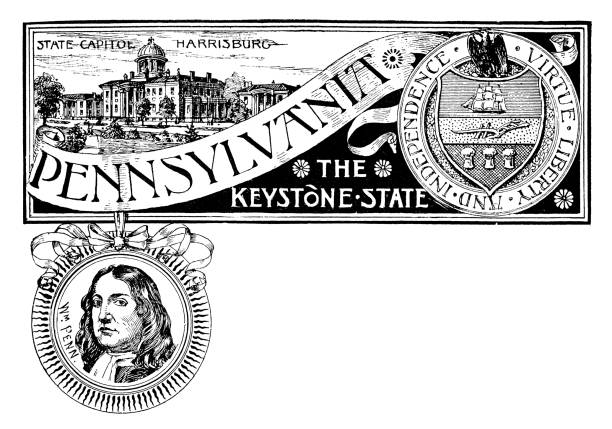 Vintage banner with emblem and landmark of Pennsylvania, portrait of Penn vector art illustration