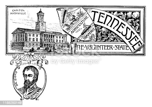Vintage banner with emblem and landmark of Tennessee, portrait of De Soto