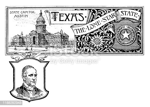 Vintage banner with emblem and landmark of Texas, portrait of Sam Houston