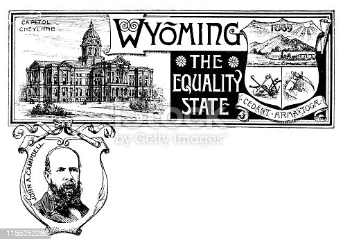 Vintage banner with emblem and landmark of Wyoming, portrait of John A Campbell