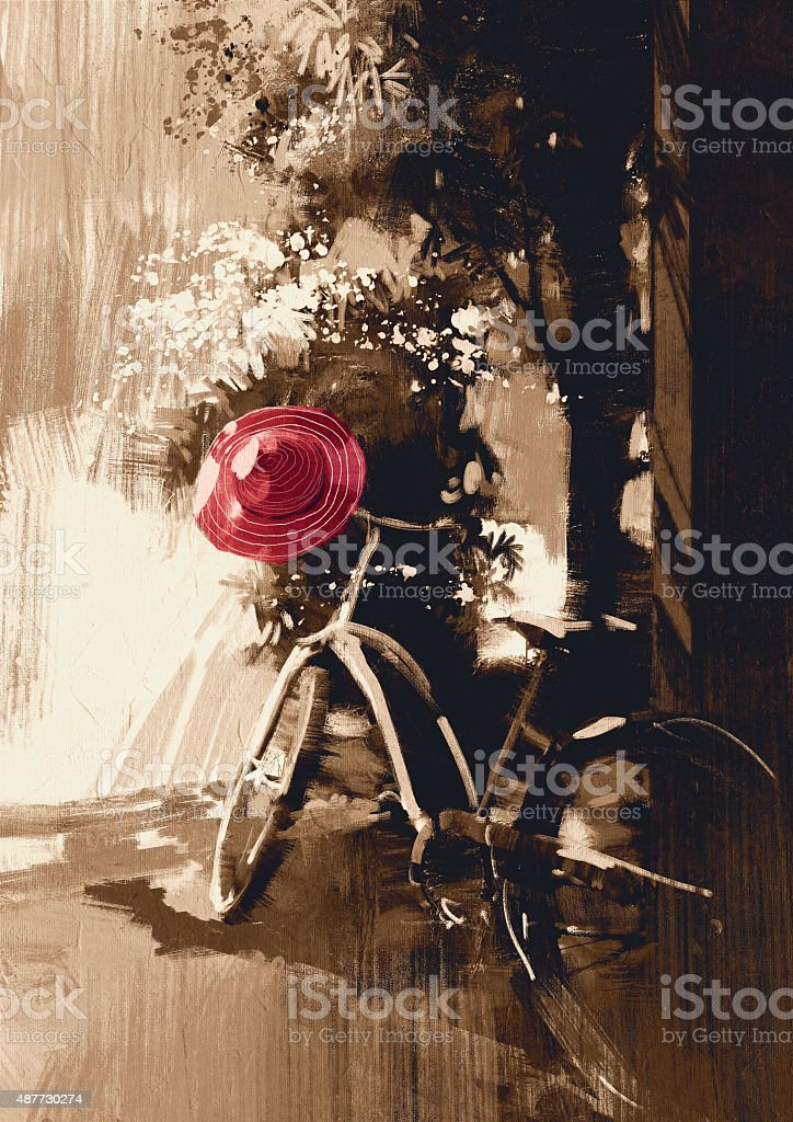 vintage bicycle and red hat on summer day vector art illustration