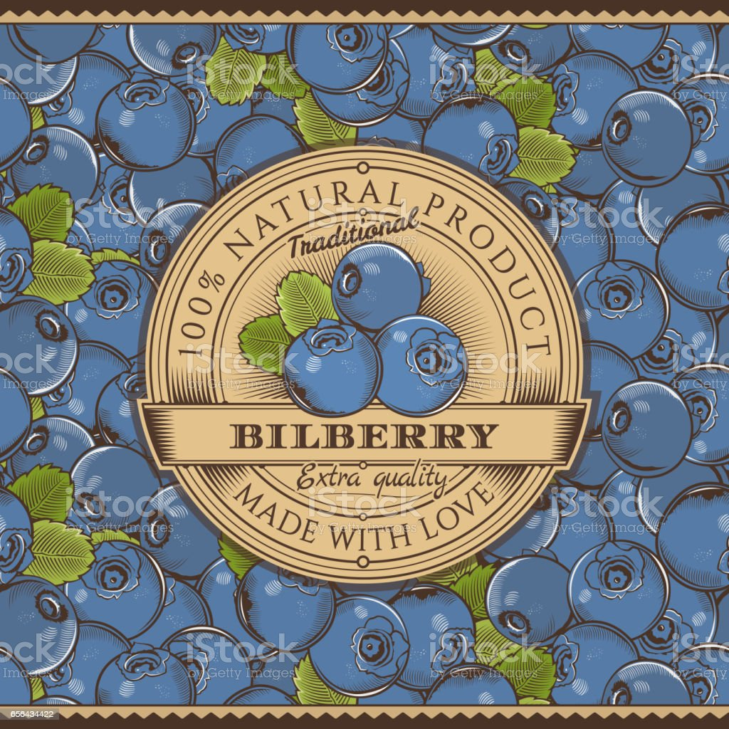Vintage Bilberry Label On Seamless Pattern vector art illustration