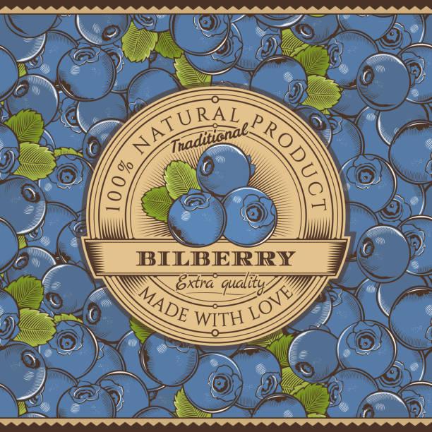 Vintage Bilberry Label On Seamless Pattern vector art illustration
