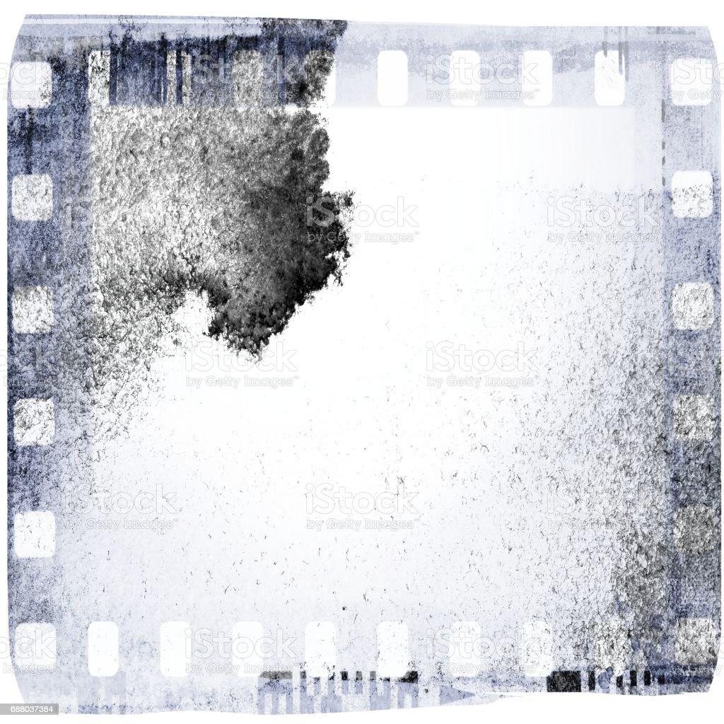 Vintage blue film strip frame on old and damaged paper background. vector art illustration
