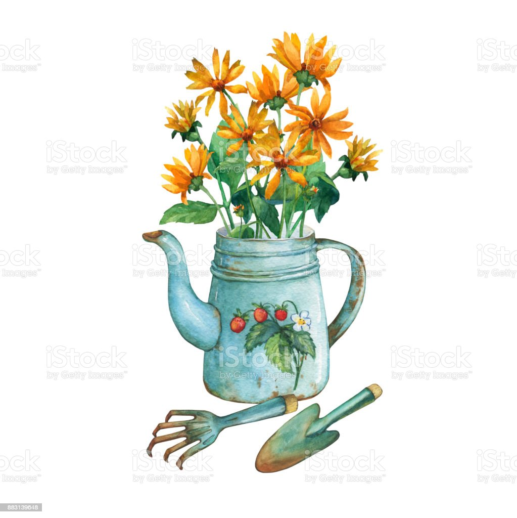 Vintage Blue Metal Teapot With Strawberries Pattern A Bouquet Of ...