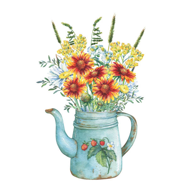 Vintage blue metal teapot with strawberries pattern and bouquet of blanket and immortelle flowers. Watercolor hand drawn painting illustration, isolated on white background. Vintage blue metal teapot with strawberries pattern and bouquet of blanket and immortelle flowers. Watercolor hand drawn painting illustration, isolated on white background. shabby chic stock illustrations