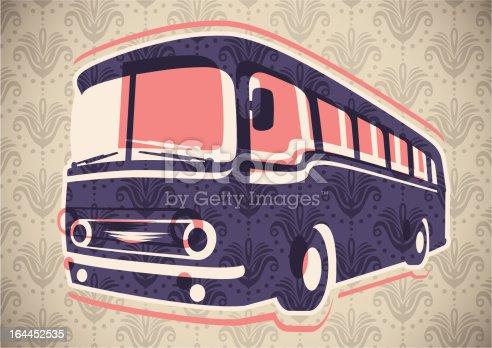 Vintage bus illustration. Vector illustration.