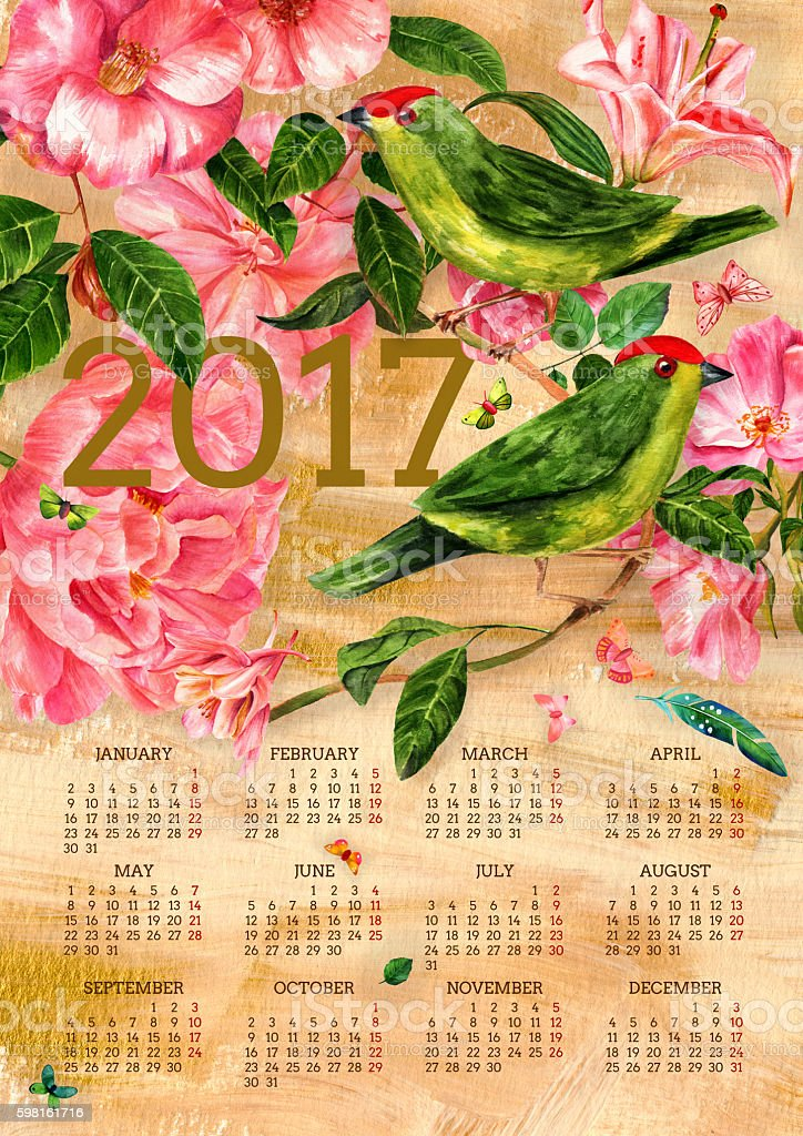2017 vintage calendar with watercolor birds, flowers and butterflies - Illustration vectorielle
