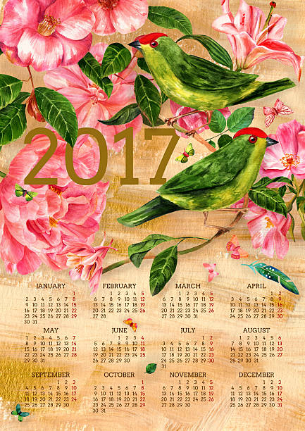 2017 vintage calendar with watercolor birds, flowers and butterflies - birds calendar stock illustrations, clip art, cartoons, & icons