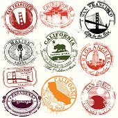 Vintage California Travel Stamps