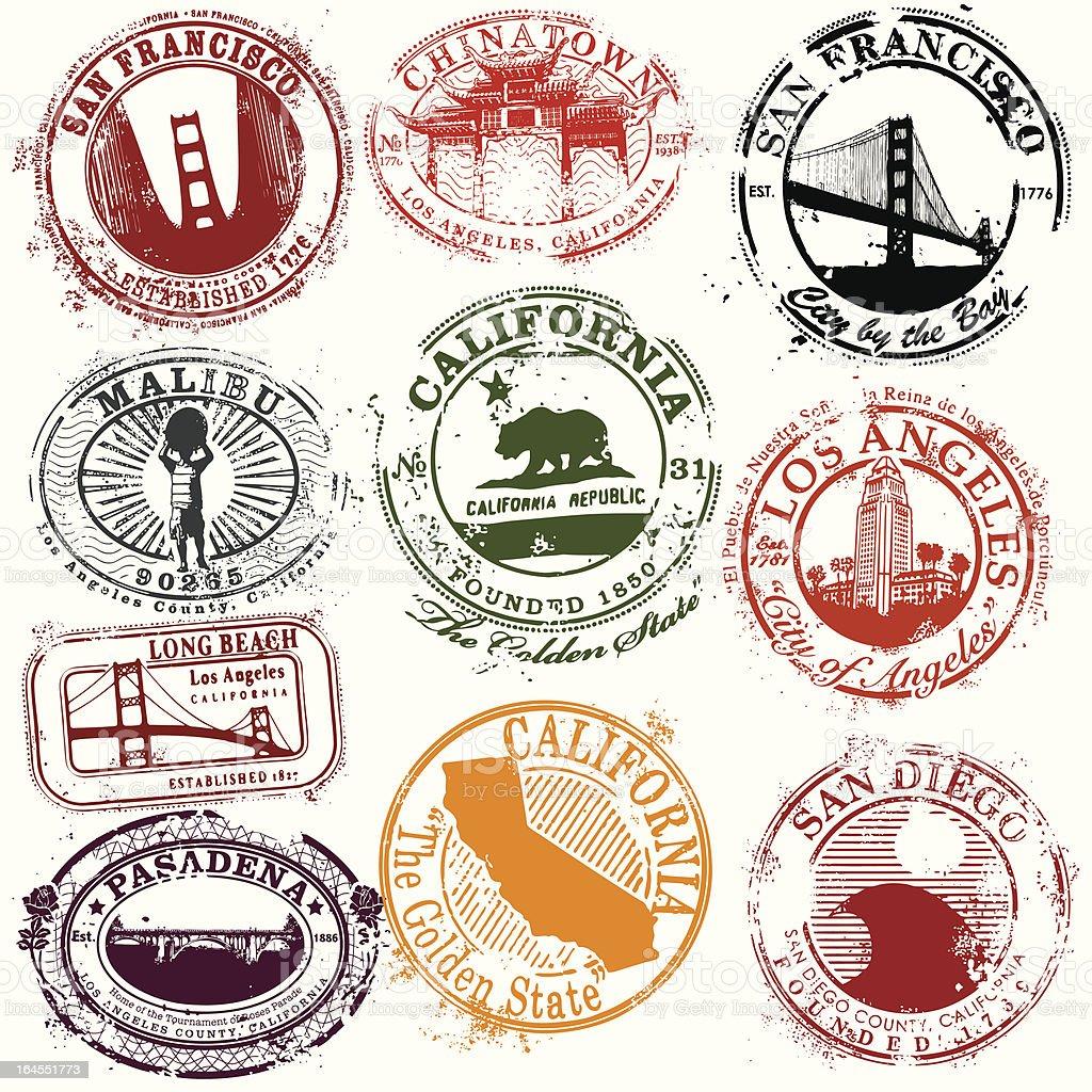 Vintage California Travel Stamps vector art illustration