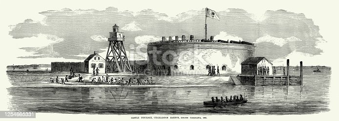 Engraving of the view of Castle Pinckney, Charleston Harbor, Charleston, South Carolina Civil War Engraving from