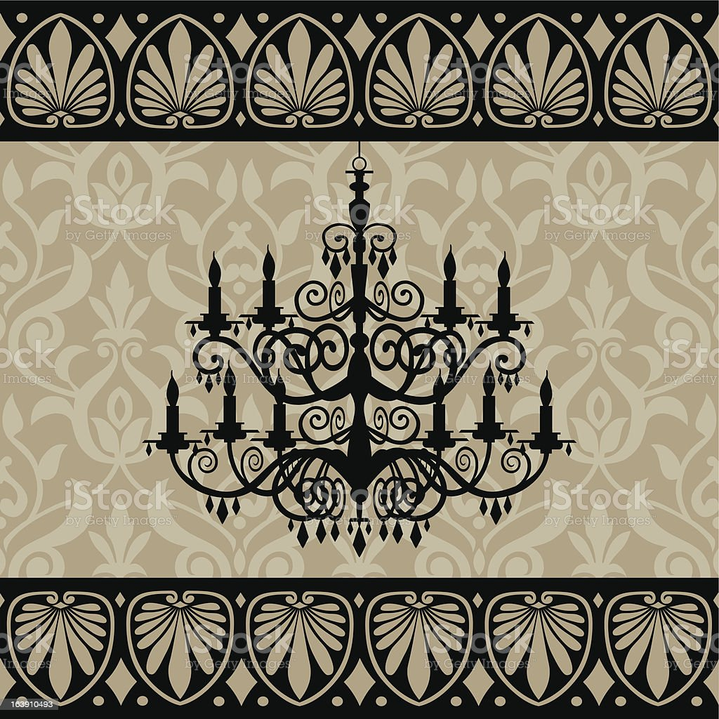 Vintage chandelier vector art illustration