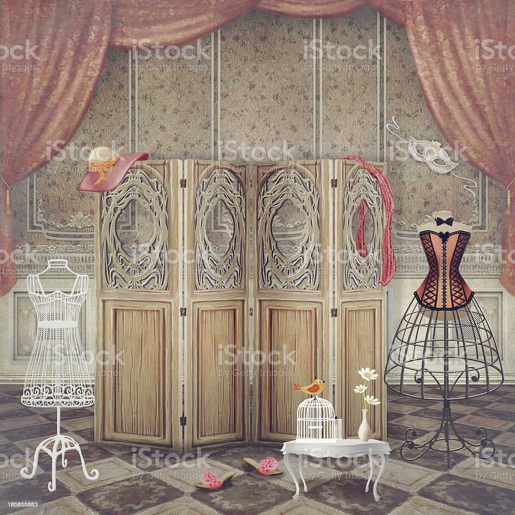 Vintage changing area including screen and dress stands royalty-free stock vector art
