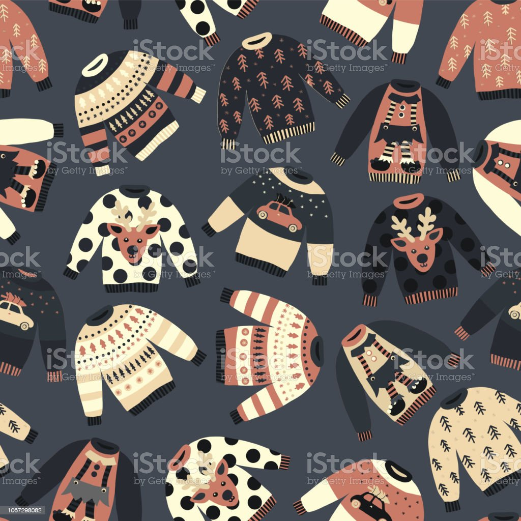 Vintage Christmas Holiday sweaters seamless vector pattern blue. Knitted ugly winter jumpers with norwegian ornaments and decorations. Christmas background for fabric, gift wrap, poster, greeting card vector art illustration