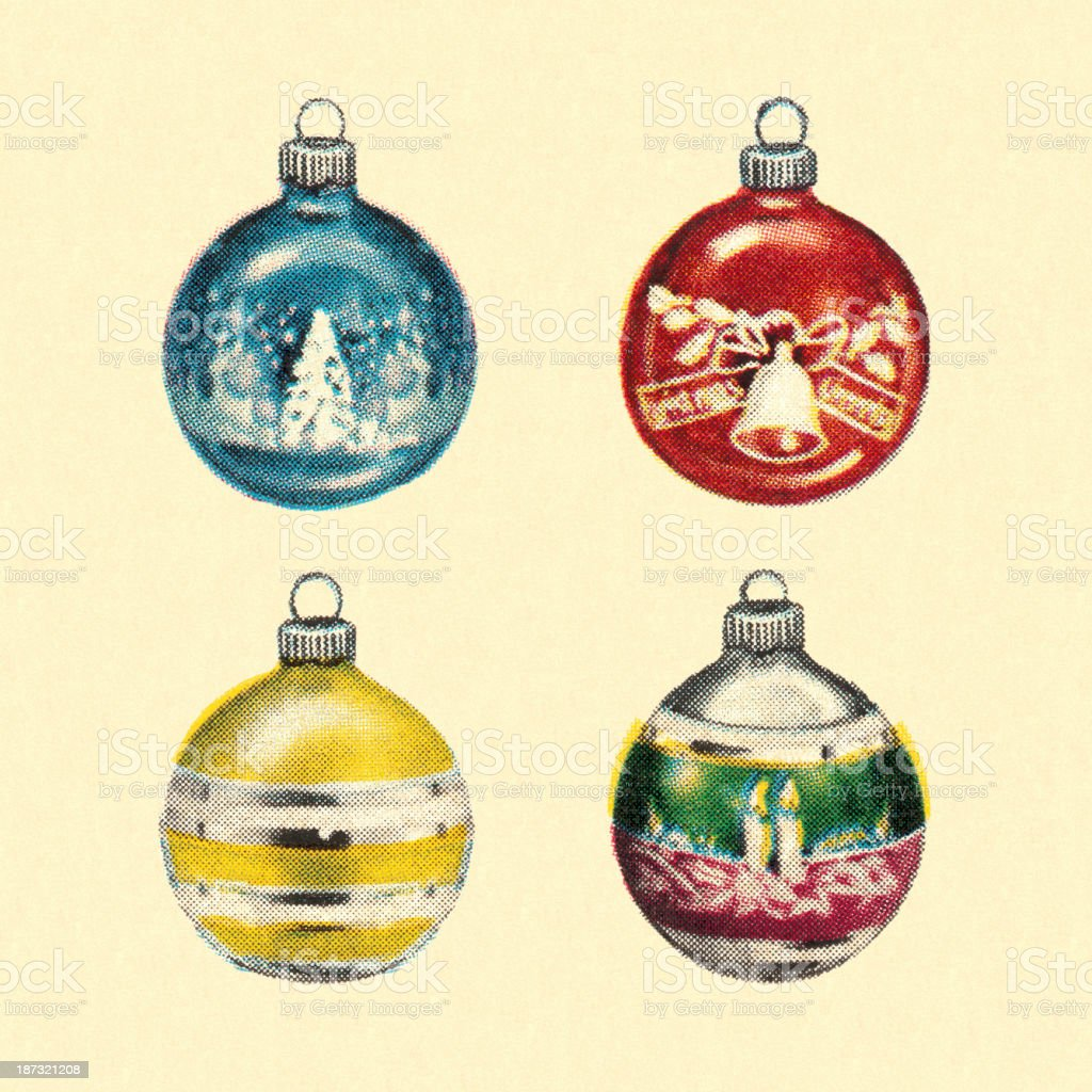 Vintage Christmas Ornaments vector art illustration