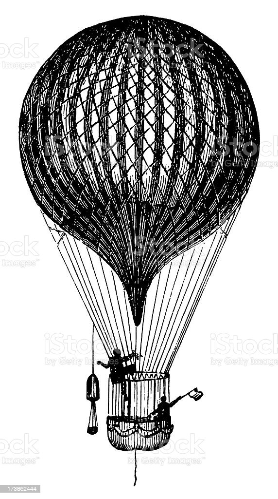 Vintage Clip Art and Illustrations | Antique Flying Balloon royalty-free stock vector art